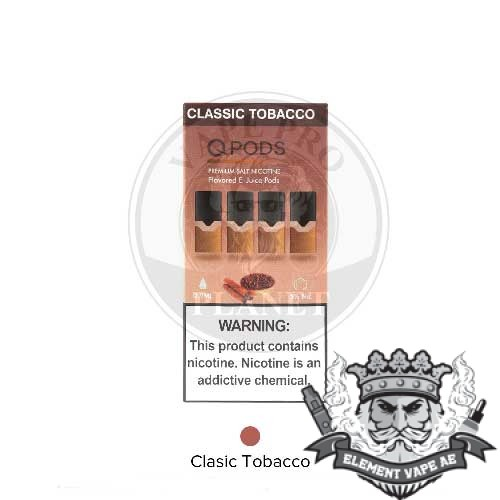 qpods salt nic oil cartridge classic tobacco vapeproplanet
