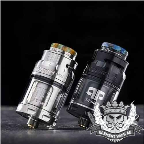 JUGGERKNOT MINI RTA By qp Design, An atomizer 24mm in diameter and has a capacity which can pass from 2ml to 4.5ml depending on the reservoir. The Juggerknot Mini has the particularity to have aeration from the top of the tank to avoid leaking of e liquids. The filling is also effectuated from the top.